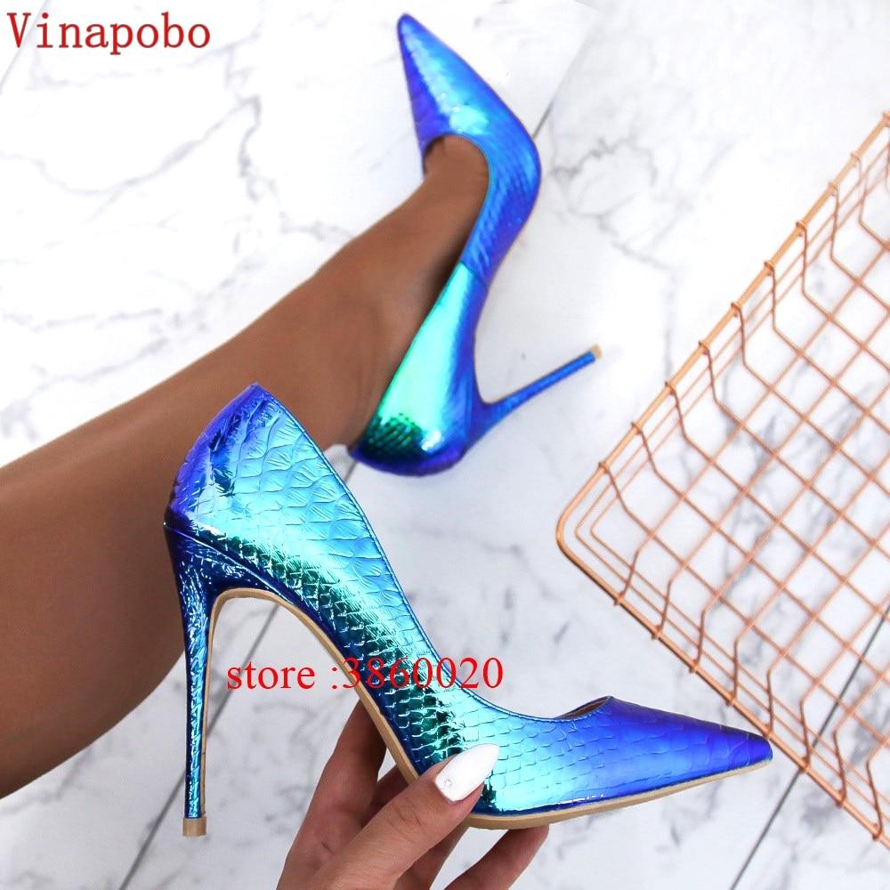 New Arrival 2019 Leather Women Shoes Color Change Snake Print Sexy Stilettos High Heels 12cm/10cm/8cm Pointed Toe Women Pumps