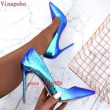 Nouveauté 2019 cuir femmes chaussures changement de couleur serpent imprimé Sexy talons aiguilles talons hauts 12 cm/10 cm/8 cm bout pointu femmes pompes