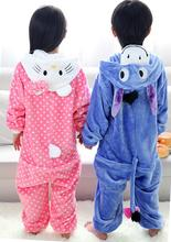 free shipping  hotonesie Blue Eeyore Donkey Polka dots kitty Pajamas Costume Fancy Kids Dress For Party