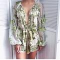 New Gold sequin embroidery elegant jumpsuit romper Deep V Neck mesh long sleeve playsuit women Deep v neck overalls