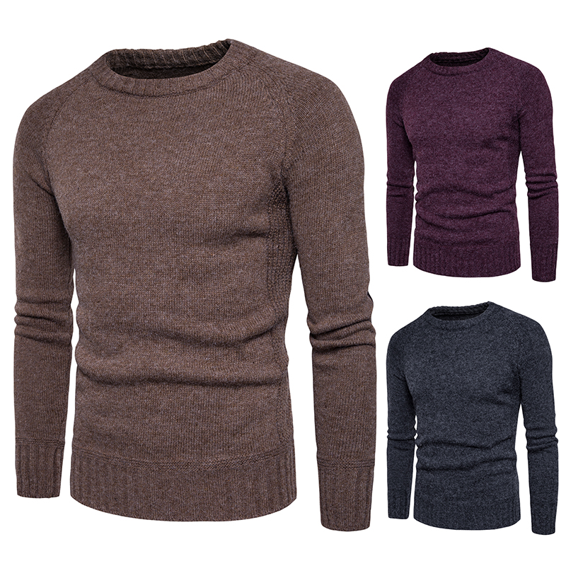 2019 Spring And Autumn And Winter New Comfortable Slim Patch Decorative Round Neck Casual Sweater Pullover Men's Long Sleeves