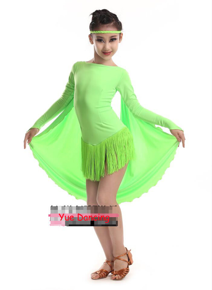 Free Shipping Tassel Latin Fringe Dance Dress With Wings Girls Costumes Disfraces Infantiles Children Tango Clothes Salsa Dress