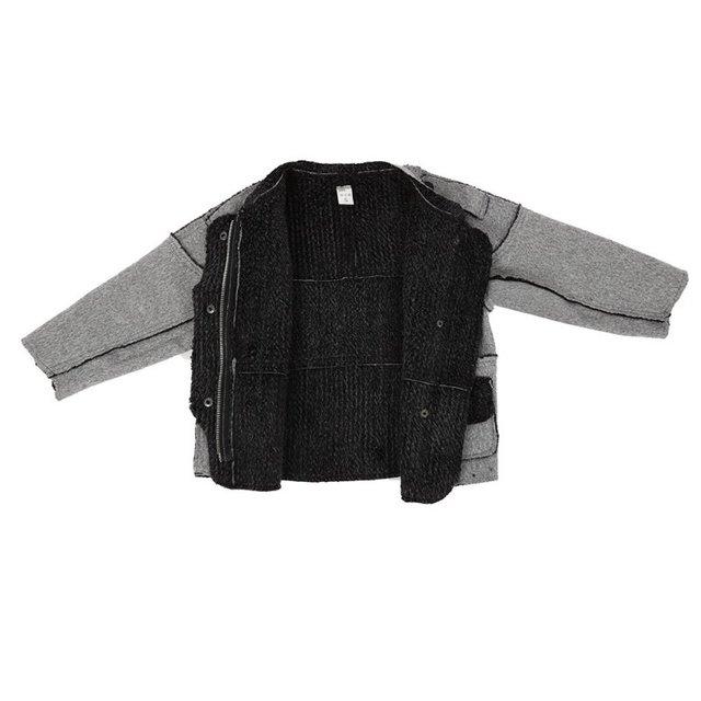 Мода Мальчики Зима Сплайсинга Куртка Шерстяная Ткань Теплый Лоскутное Пальто