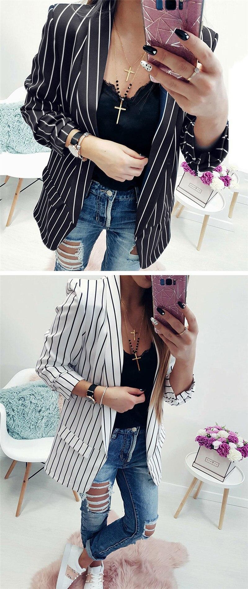 women fashion striped blazer suits-1