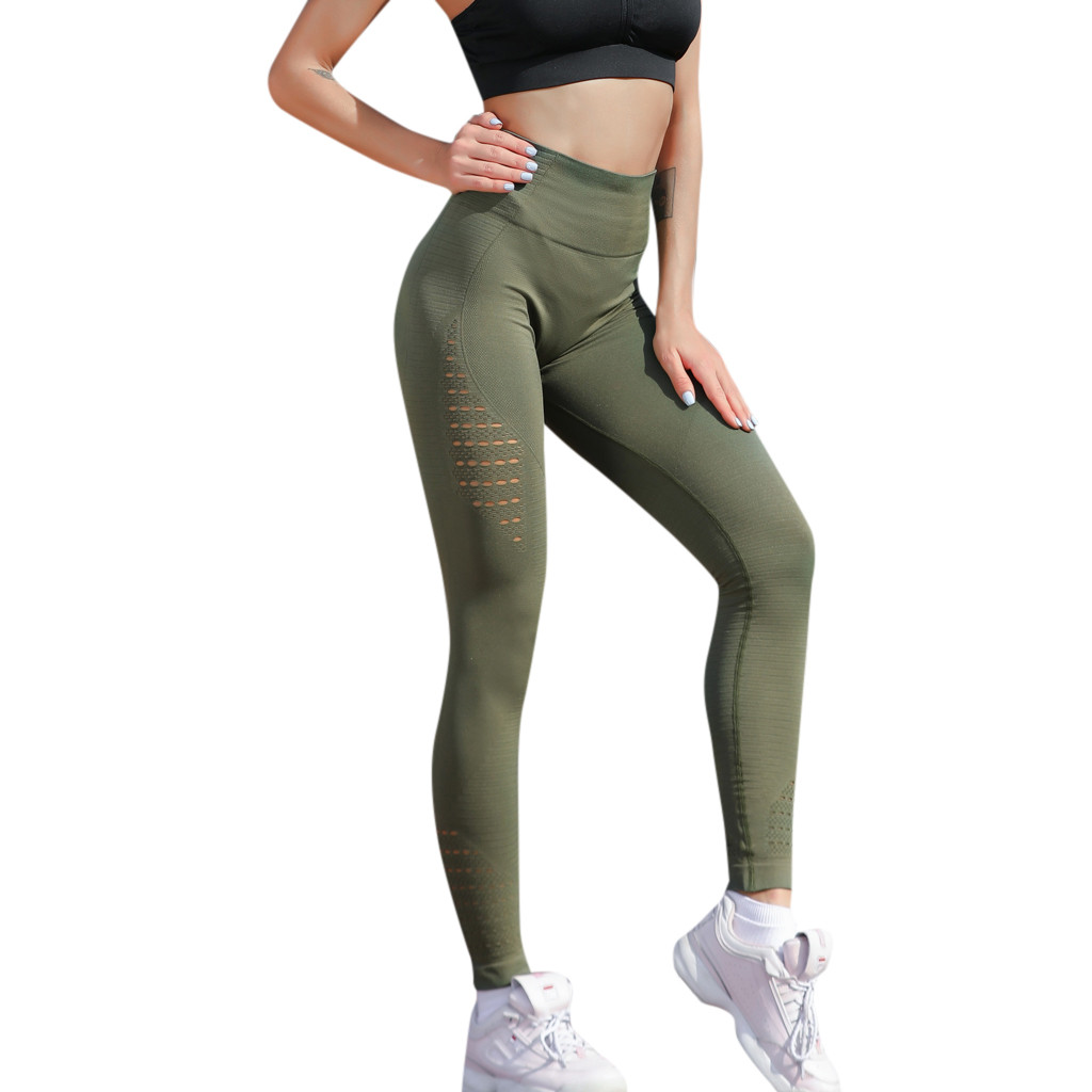 Leggings Women High Elastic Waist Solid Hollow Out Casual Legging Running Sports Pencil Pants Trouser Simple S-XL
