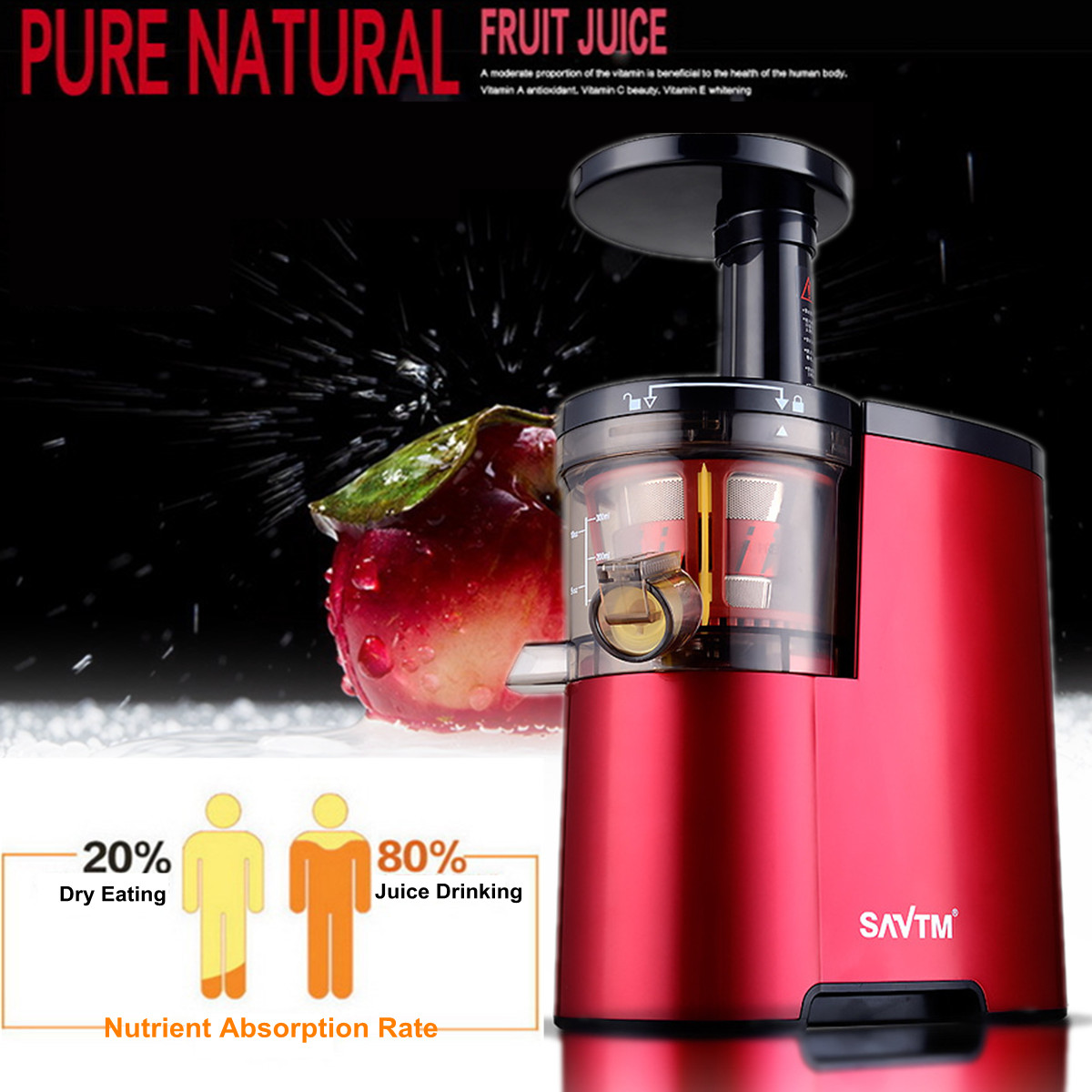 Red Squeezing 220V Electric Slow Juicer Fruits Vegetables Low Speed Juice Maker Extractor 150W Self-cleaning Ultra-quiet цена 2017