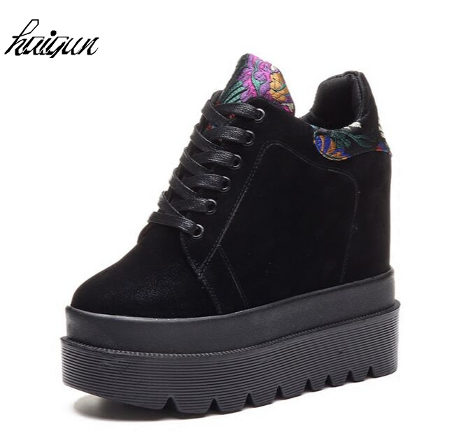 где купить spring Autumn winter 12cm High platform shoes with thick bottom increased in female leisure shoes wedges super comfortable shoes по лучшей цене