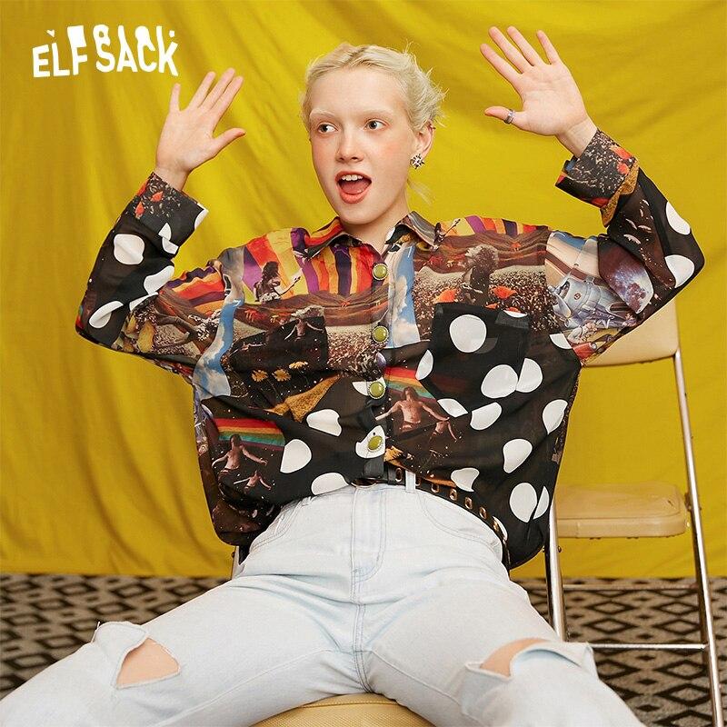 ELFSACK Dot imprimer rétro Vintage en mousseline de soie Blouse chemise haut pour femme 2019 automne femme Streetwear décontracté surdimensionné dames Blouses