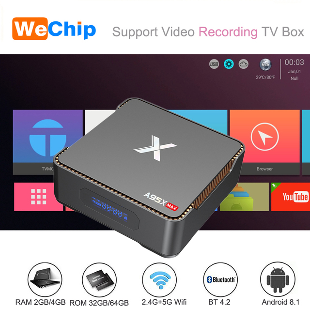 A95X MAX Smart Android 8.1 TV Box 4G 64G S905X2 2.4G+5G Wifi BT 4.2 1000M 2G 32G 4K Media Player Support Video Recording Ott Box