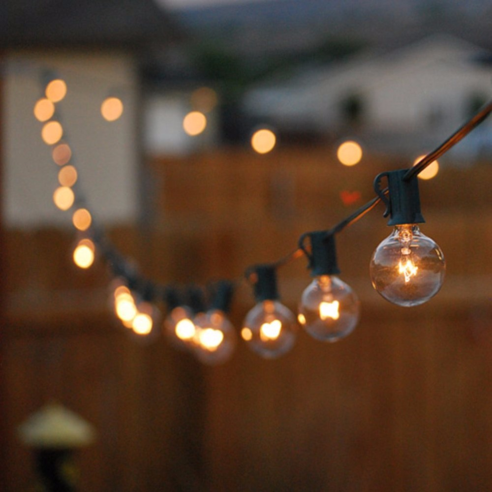 Exterior Light Fixtures 25ft G40 Globe Bulb String Lights With 25 Clear Ball
