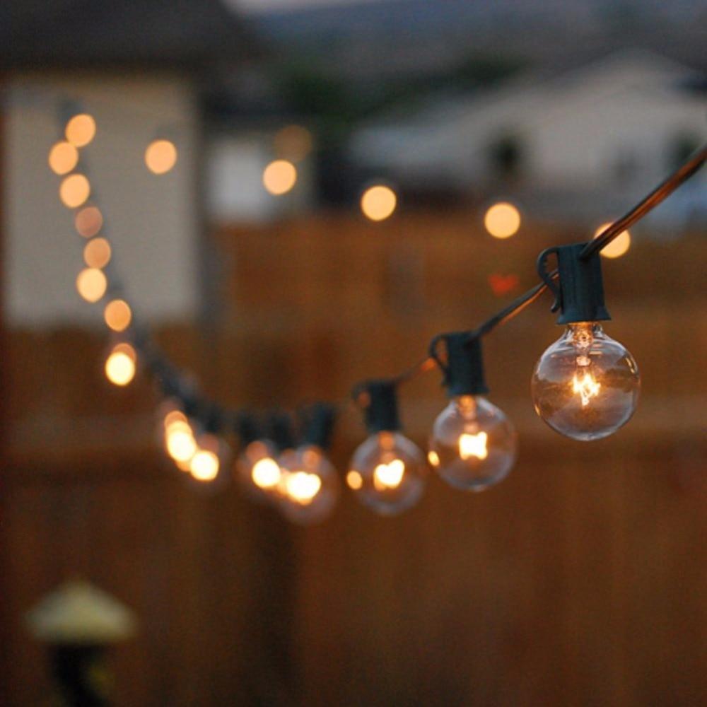 25Ft G40 Globe ampoule chaîne lumières avec 25 boule claire Vintage ampoule intérieur/extérieur suspendu parapluie Patio chaîne luminaires