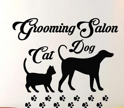 Fashion Pet Shop Vinyl Wall Decal Pet Grooming Salon Sign Lettering Dog Cat Mural Art Wall Sticker Pet Salon Room Decoration