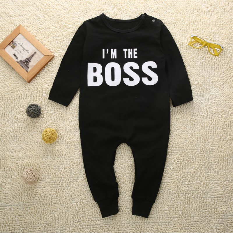 Boss baby boys girls rompers long sleeve boys spring autumn rompers clothes newborn baby rompers jumpsuit black 0-24 months autumn winter baby clothes toddler boys girls rompers one piece letter printed long sleeve jumpsuit kids baby outfits clothing
