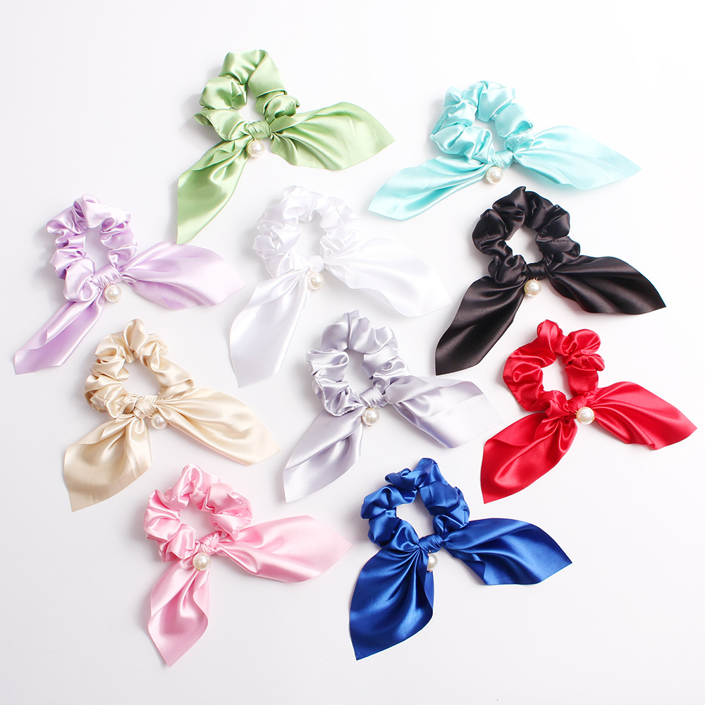 For Women New Pure Color Rabbit Ears Bowknot Pearls Hair Rope Silk Satin Ponytail Scrunchies  Girls Fashion Accessories