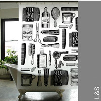 Free Shipping waterproof eva shower curtain 180*180cm curtain with 12pcs plastic shower curtain hook