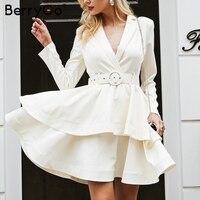 BerryGo Elegant white ruffle turndown collar mini dress Sash high waist women dress Winter long sleeve chic party sexy club 2018