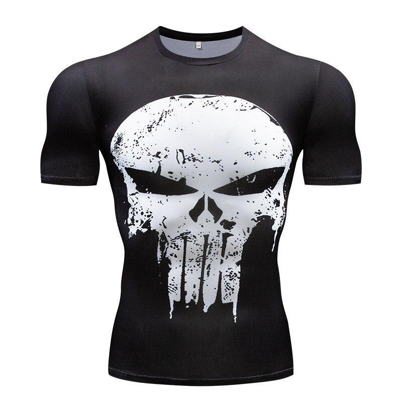 2018 New Fitness Compression Shirt Men Anime Superhero Punisher Skull Captain Americ 3D T Shirt Bodybuilding Crossfit tshirt