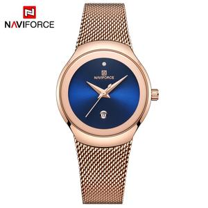 Image 1 - NAVIFORCE relojes superfino para mujer, de malla plateada, de acero inoxidable, de pulsera, informal