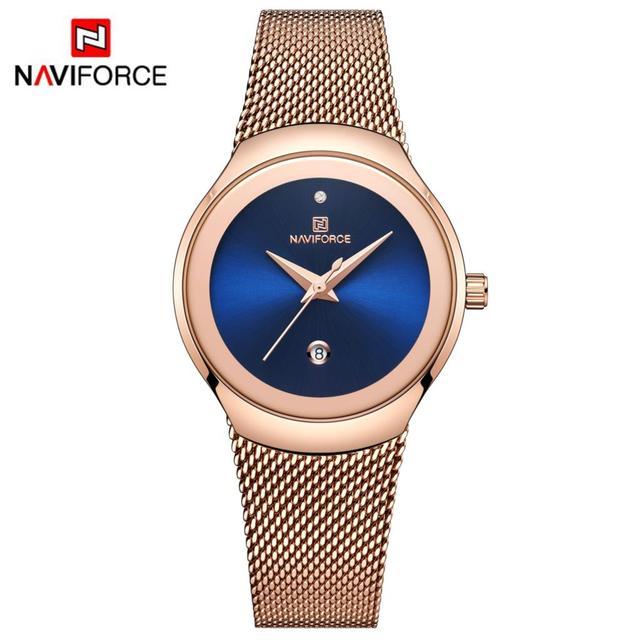NAVIFORCE relojes superfino para mujer, de malla plateada, de acero inoxidable, de pulsera, informal