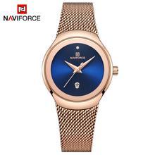 NAVIFORCE zegarki kobiety super cienki Sliver siatki ze stali nierdzewnej Top marka luksusowe Casual Ladies Wrist Watch Lady Relogio Feminino
