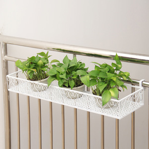 Image 1 - Balcony hanging flower stand iron frame plant stand outdoor decoration display metal frame