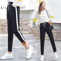 High Waist Pants Women 2018 Casual Winter Wool Harem Pants Large Size Warm Trousers Thicker Elastic Waist Striped Women Pants