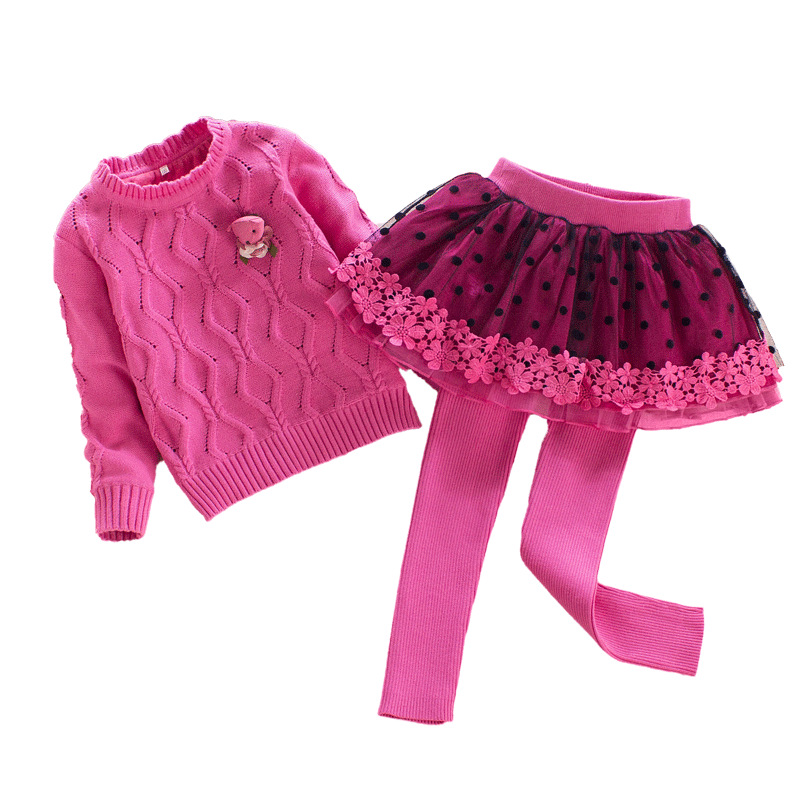 Winter Girls Sweater Set Velvet Coat and Knit Culottes 2pcs for Children Princess Warm Stripe Clothing 4Y-8Y baby children s clothing boys and girls set sweater autumn winter warm new fashion gold velvet leisure sports two piece a8888