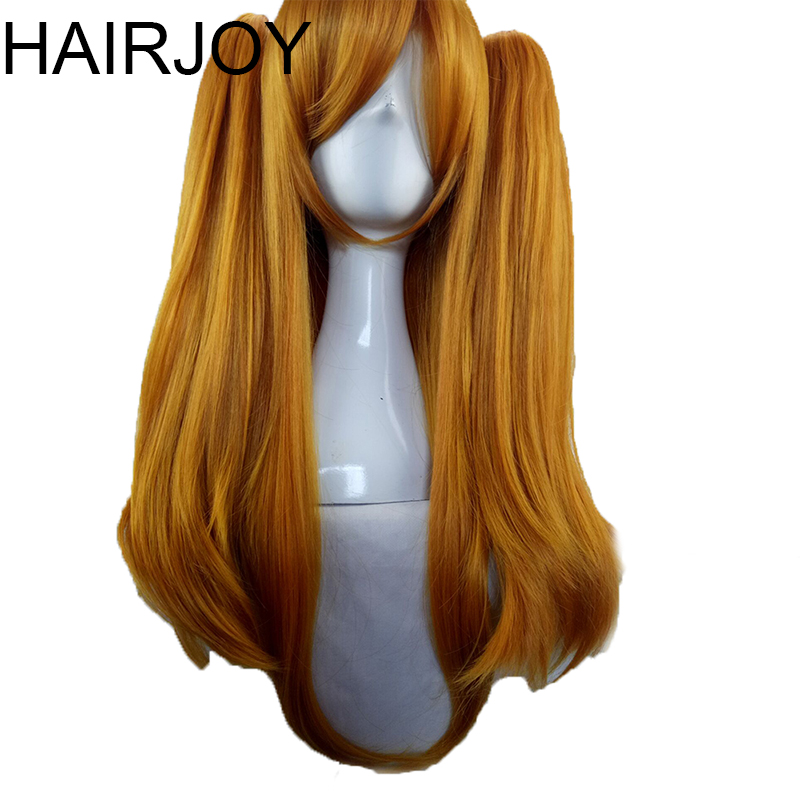 HAIRJOY Woman 70cm Long Straight  Braided Orange Blonde Synthetic Hair Party  Wigs +2 Clips Ponytail Cosplay Wig