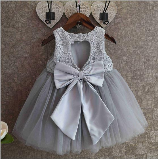 2016 summer noble girls wedding dress backless kids tutu dress lace splice children party dress suit 2-7T gray vetement fille