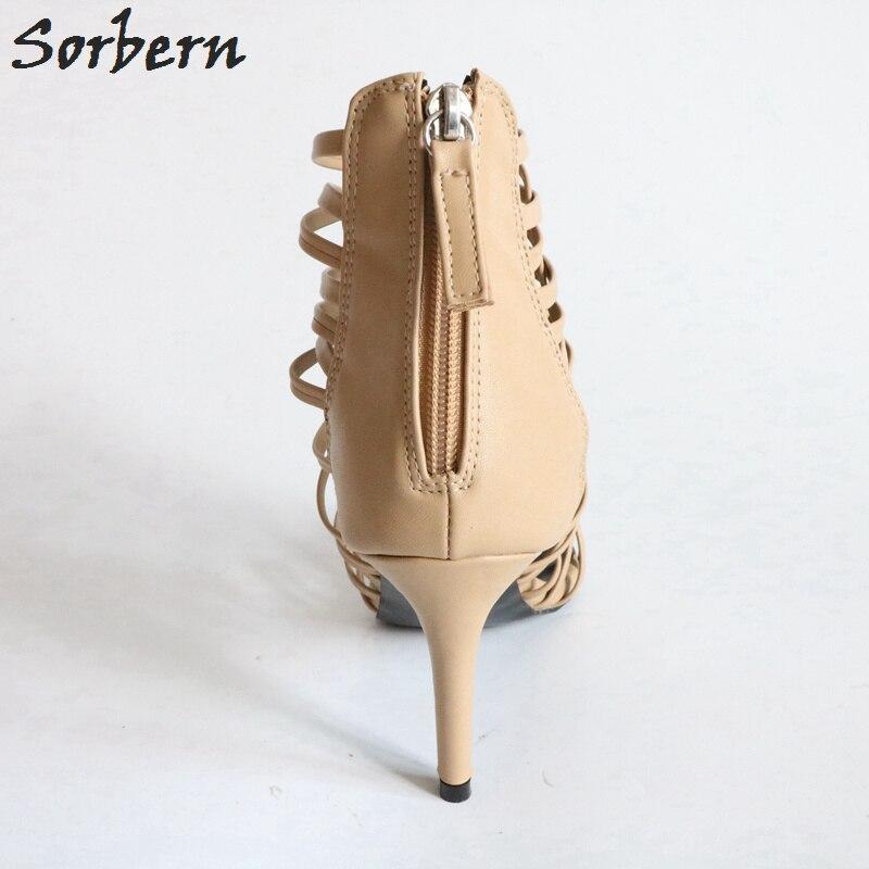 Talon Femmes Sexy Couvertes Sandales multi Gladiateur Style À Talons Mince Nude Feminino Hauts Sapato Pour Sangle Sorbern Nude qpBOw