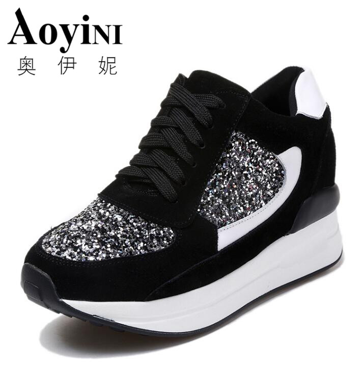 2018 Spring Autumn Women Sneakers Platform Shoes Height Increasing Casual Shoes Woman Wedges Trainers Tenis Feminino