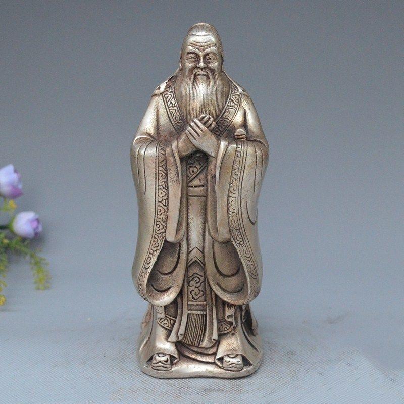 Chinese Silver Famous Philosopher Founder Confucianism Literati KongZi StatueChinese Silver Famous Philosopher Founder Confucianism Literati KongZi Statue