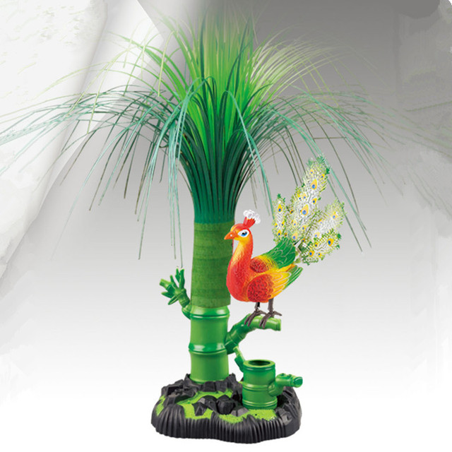 US $29 03 12% OFF|sound control peacock sounds bird 16x13x17cm ornament  with artificial grass,home desk decoration creative toy gift a2107-in