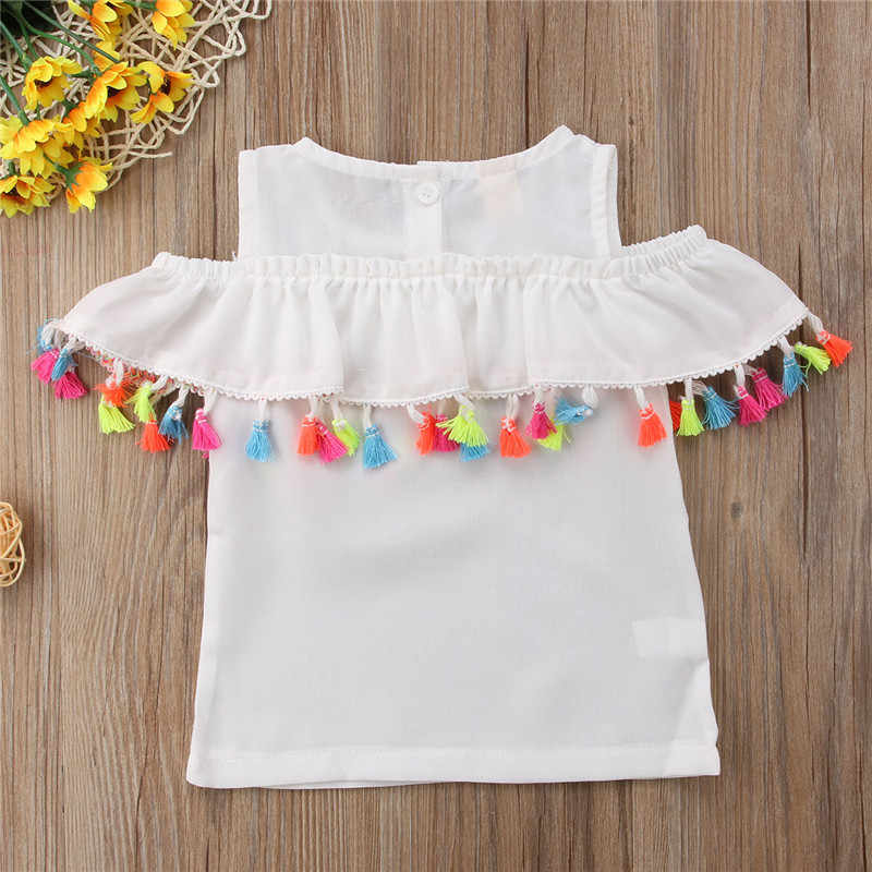 3b999e99d ... Tassels Girls Blouse Shirts 2018 New Summer Fashion Cotton Off Shoulder  Ruffles Children Tops Infants Casual