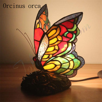 Mediterranean butterfly table lamp dining table bar bedroom bedside night lamp creative butterfly decorative table lamp
