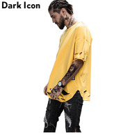 Ripped Hip Hop T Shirt Short Sleeve 2017 Summer Streetwear Curved Hem Longline Mens Tshirts Extended