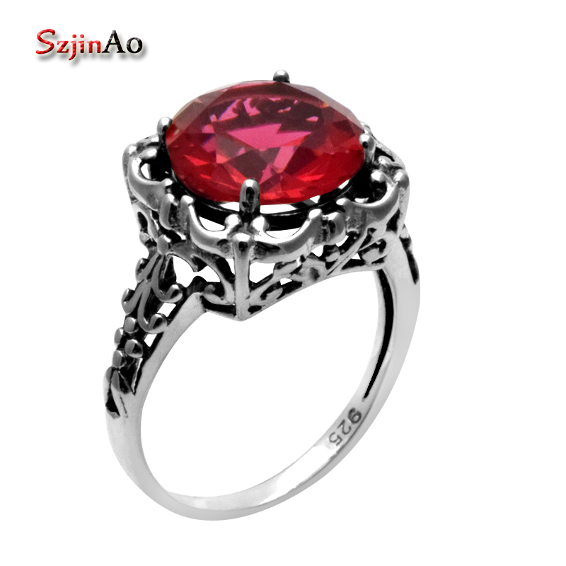 Szjinao Wholesale New Gorgeous Round Cut Red Stone Ruby Women Rings 925 Sterling Silver Handmade Vintage Druzy JewelrySzjinao Wholesale New Gorgeous Round Cut Red Stone Ruby Women Rings 925 Sterling Silver Handmade Vintage Druzy Jewelry