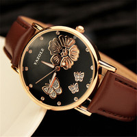 2016 New Fashion Women Wristwatches Butterfly Flower Bling Genuine Leather Quartz Watch Wedding Wrist Watch Women