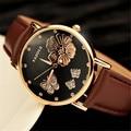 2016 Nuevas Mujeres de La Moda Relojes de pulsera Mariposa Bling de la Flor de Cuero Genuino Reloj de Pulsera de Cuarzo-Reloj de La Boda Las Mujeres montres femme
