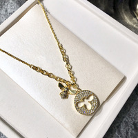 Popular fashion jewelry copper gilt black and white Water drill size bee bee round card hollow Water drill necklace for women