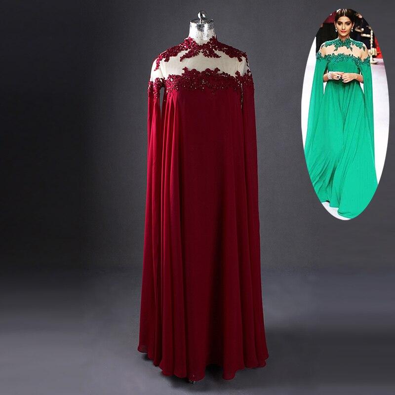 Gorgeous Green Sonam Kapoor Full Sleeves Indian Style High Neck Sheer Back   Evening     Dresses   Vestido De Festa