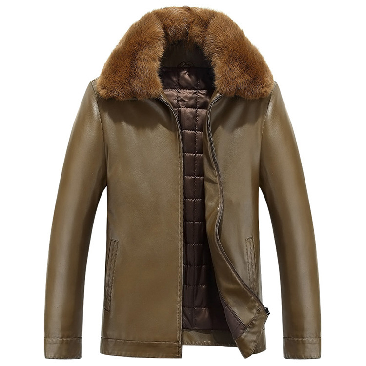 3 Color Winter Leather Jacket Men Lapel Thickening Leather Coats Mens Casual Leather Overcoat Free shipping