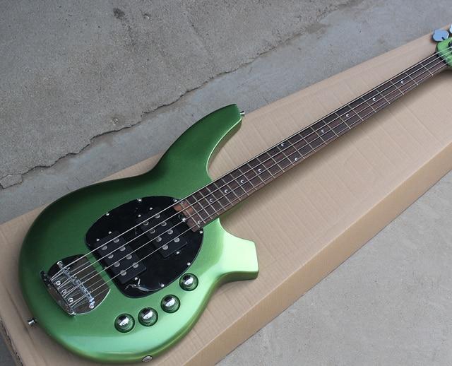 Factory Custom 4 String Green Electric Bass Guitarblack Pickguard2