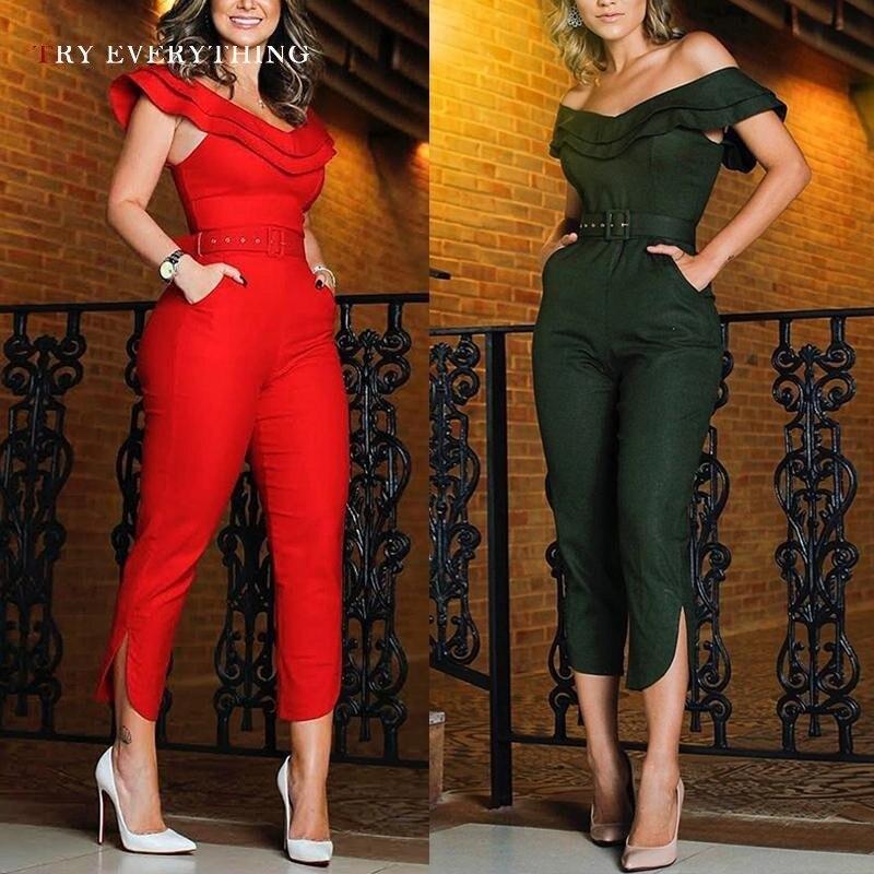 Black Sexy Jumpsuit Women Summer 2019 New Off Shoulder Bodycon Jumpsuit Trousers Female Long Cotton Jumpsuit For Womens Rompers in Jumpsuits from Women 39 s Clothing
