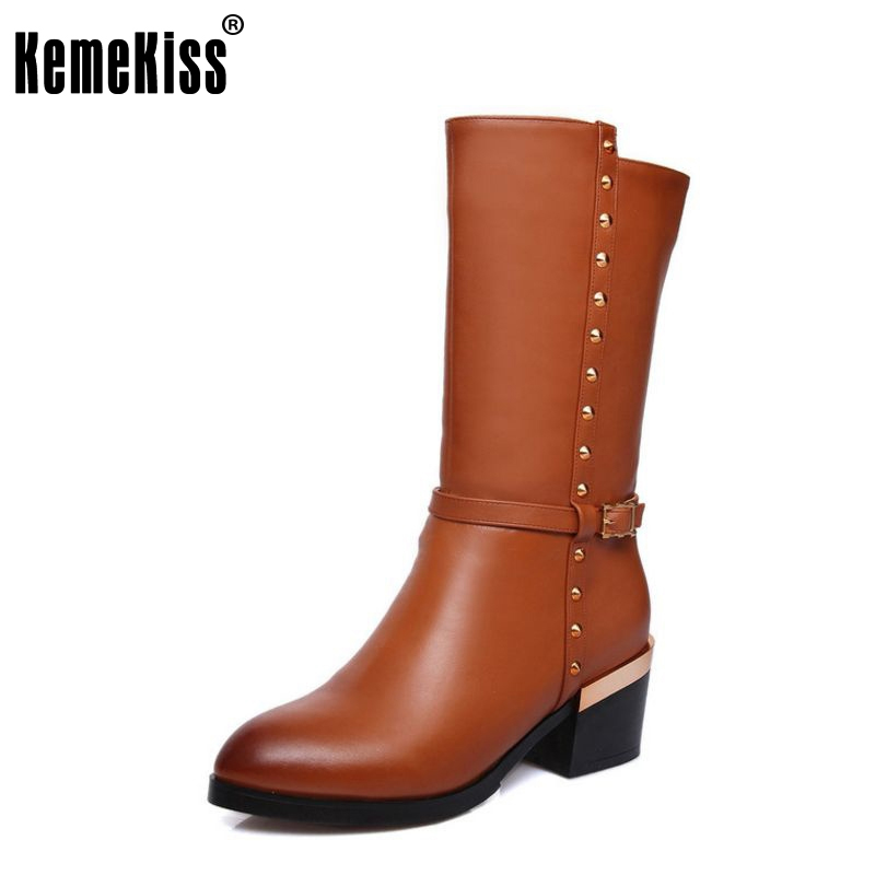 size 33-44 women real genuine leather high heel mid calf boots half short boot snow warm botas brand heels footwear shoes R8037 double buckle cross straps mid calf boots