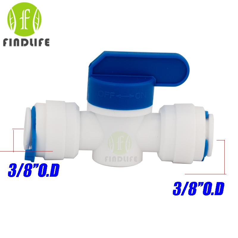 2 pcs Water Filter Parts 3/8 * 3/8OD Tube hand Ball Valve Quick Connect Switch Water Purifier Reverse Osmosis System 2 pcs water filter parts 1 4 tank ball valve for tube quick connect switch water purifier ro reverse osmosis system