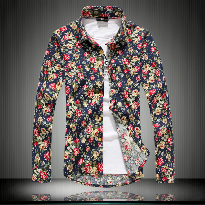 Flower shirts for men artee shirt for Long sleeve shirt pattern