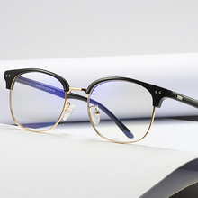 COOLSIR Blue Light Blocking Glasses Anti Metal Frame Fashion Computer Goggles HD Reading Flat Mirror UV400
