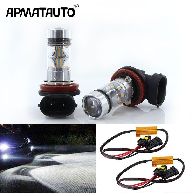 2x CANbus H8 H11 LED Bulbs For Fog Lights 75W White For BMW 3/5-Series 328i 335i E39 525 530 535 E46 E61 E90 E92 E93 F10 X3 F25