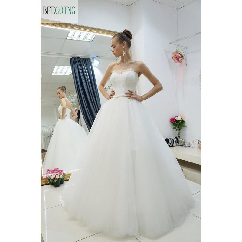 Ivory  Lace  Tulle A-line Wedding Dress Court Train Sleeveless  Lace Up Belt  Real/Original Photos Custom Made